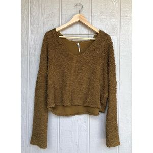 Free People | Moss Green Popcorn Pullover Sweater
